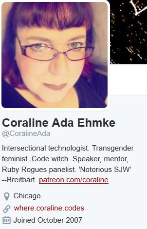Coraline Ada Ehmke twitter bio